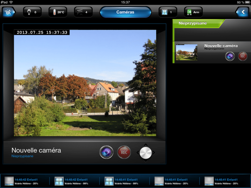Caméra IP dans l'appli iPad de la HC2
