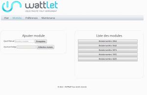 Wattlet web : présentation des modules