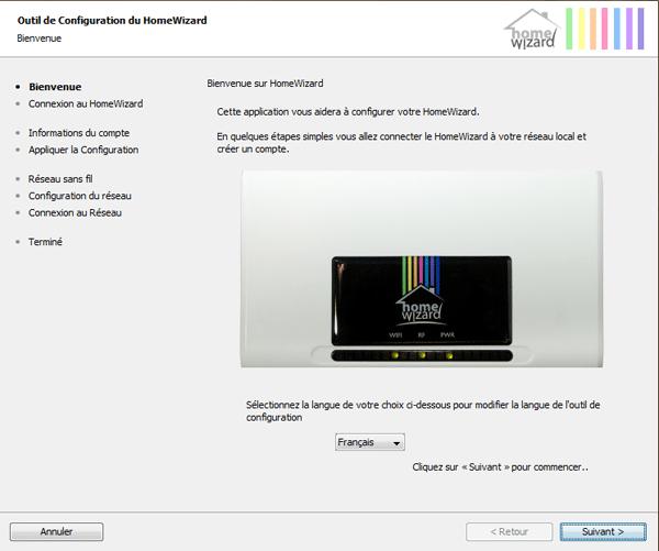 Application d'ajout de la HomeWizard sous Windows
