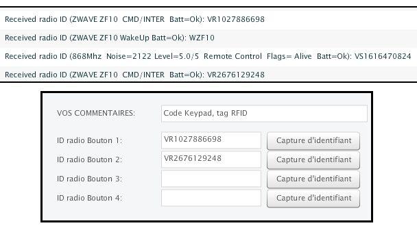 Clavier RFID de ZIpato sur la Zibase
