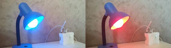 Apoule RGBW de Zipato : Rouge et Bleu