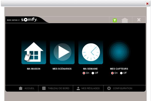 Utilisation de la Somfy Box : écran principal