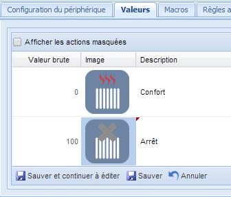 Pilotage radiateur Qubino : réglage icones fil pilote