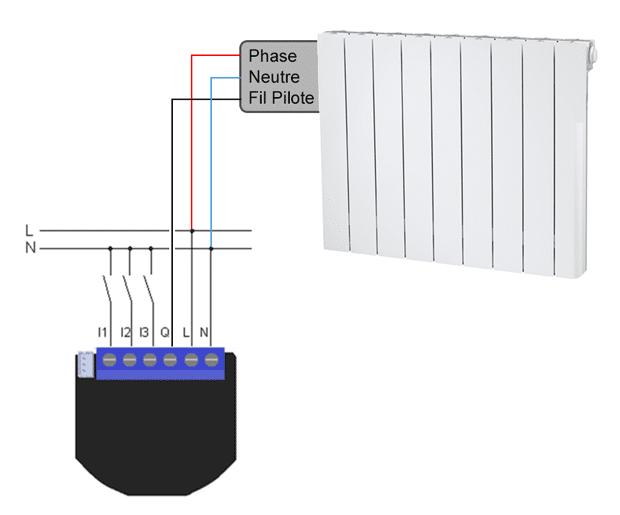 Schéma de branchement du Qubino fil pilote