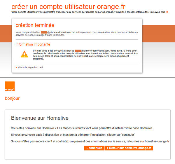 HomeLive creation d'un compte Orange
