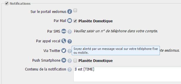 Mise à jour eedomus : notifications vocales