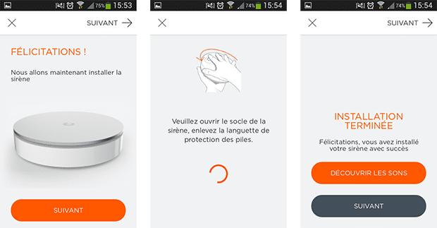 Installation sirène du Home Alarm : app mobile