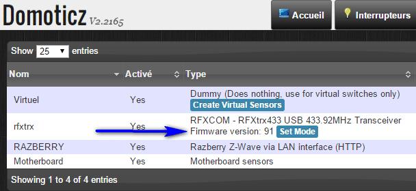 Version du RFXTrx dans Domoticz