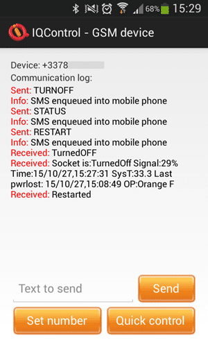 Application mobile : commandes GSM