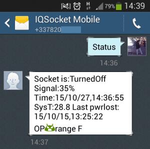 SMS de statut de l'IQsocket