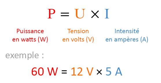 Formule calcul puissance P=UI