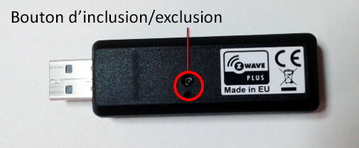Qubino : clé USB et bouton d'inclusion - exclusion