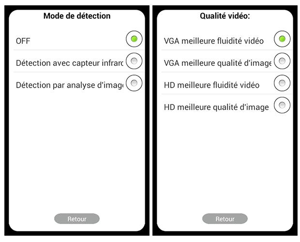 Application Wisidom : optios proposées