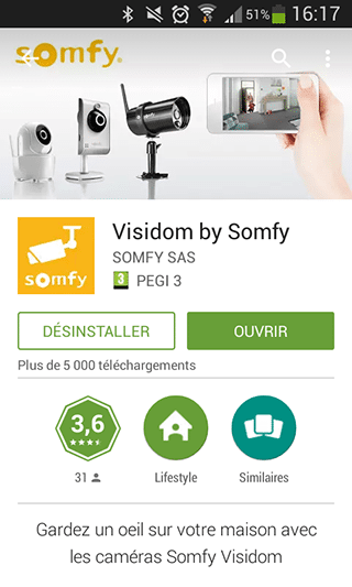 App contrôle Visidom pour le PlayStore