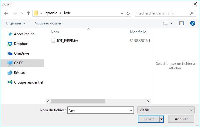IQtronic par PC et Bluetooth : choix de fichier pour une mise à jour