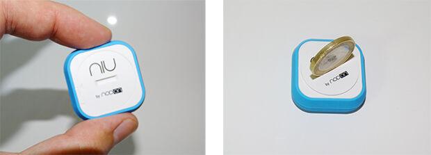 Bouton NIU : dos du bouton et système d'ouverture.
