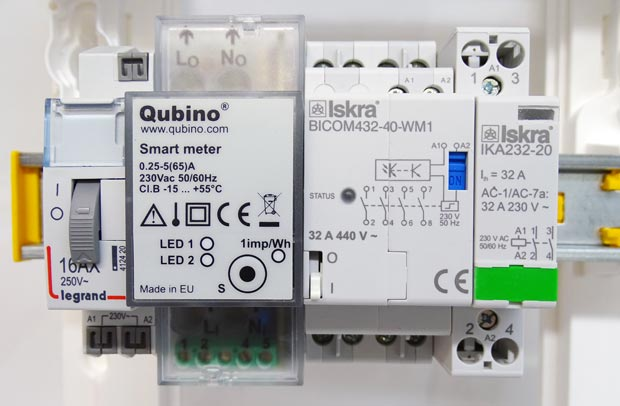 Branchement du Smart Meter et de ses deux modules rail DIN associés