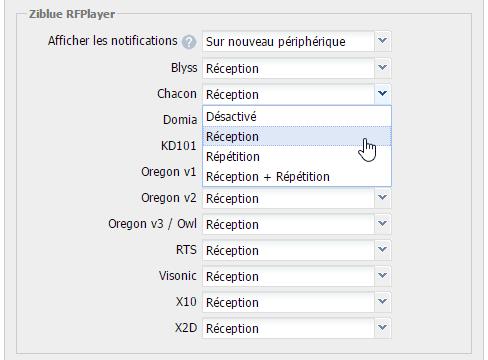 RFPlayer sur l'eedomus : paramétrage