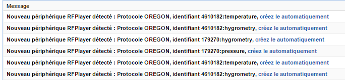 Détection RFPlayer Oregon eedomus