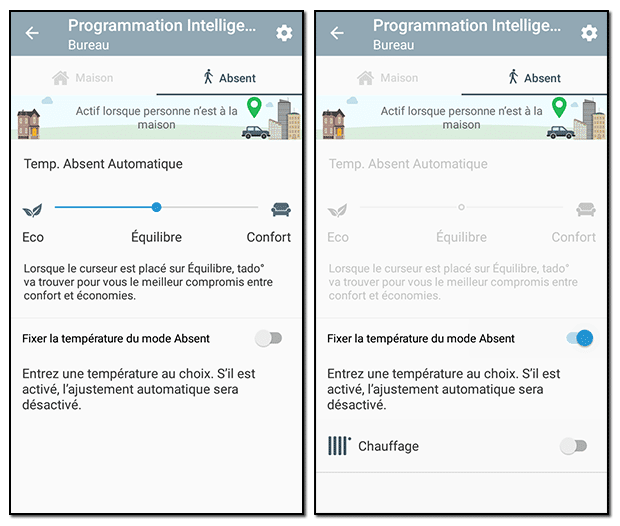 Application Tado° : configuration du mode Absent