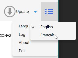 Choix de la langue dans l'utilitaire du RFPlayer