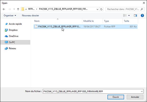 Choix du firmware à mettre à jour sur le RFPlayer