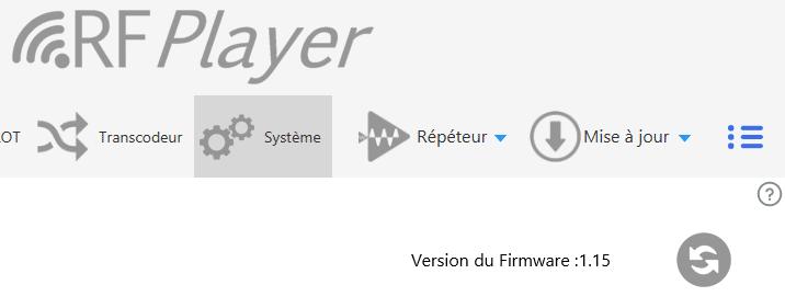 Utilitaire RFPlayer : version du firmware