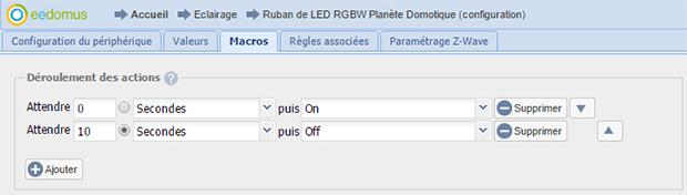 Macros on et off sur le module RGBW