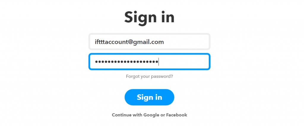 Connexion IFTTT