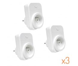 Pack de 3 Prises wifi 15A compatibles Google Home et Amazon Alexa - Wizelec
