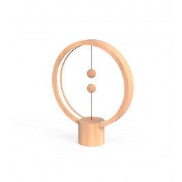 Lampe LED USB ronde en bois clair avec interrupteur magnétique