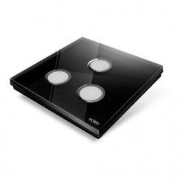 Interrupteur sans fil Edisio modèle Diamond Noir 3 touches avec base Noire