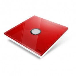 Interrupteur sans fil Edisio modèle Diamond Rouge 1 touche avec base Blanche