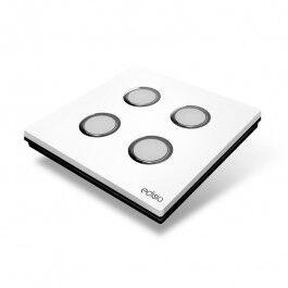 Interrupteur sans fil Edisio modèle Elegance Blanc 4 touches avec base Noire