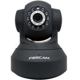 Caméra IP HD 720p noire motorisée vision nocturne WiFi - Foscam