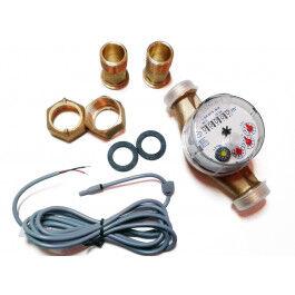 Compteur d'eau chaude avec sortie impulsion (1 imp. / 0.25 litre)