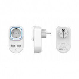 Prise ON/OFF Z-Wave+ avec mesure de consommation et sorties de recharge USB - HANK