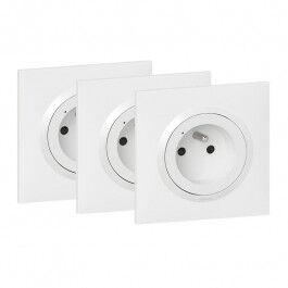Pack de 3 prises Dooxie with Netatmo 16A avec plaque blanche