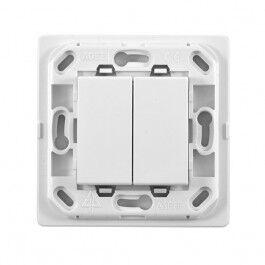 Interrupteur 2 touches sans fil - sans plaque - support blanc