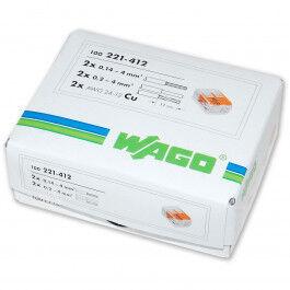 Lot de 100x borniers de raccordement rapide avec levier (2 bornes) - WAGO