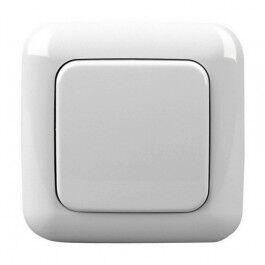 Cadre et bouton unique finition BJ articwhite pour interrupteur mural sans fil