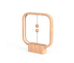 Lampe LED USB carrée en bois clair avec interrupteur magnétique